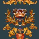 Εραλδικό άνευ ραφής σχέδιο ταπετσαριών με fleur de lis και κορώνες Στοκ φωτογραφία με δικαίωμα ελεύθερης χρήσης