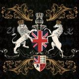 Εραλδικό αγγλικό σχέδιο με το άλογο στο εκλεκτής ποιότητας ύφος Στοκ εικόνες με δικαίωμα ελεύθερης χρήσης