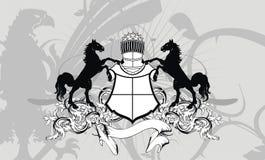 Εραλδικό υπόβαθρο λόφων ασπίδων αλόγων διανυσματική απεικόνιση