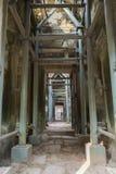 Εργάτης ικριωμάτων μέσα στο ναό TA Prohm σε Angkor Thom, Καμπότζη Στοκ Εικόνα