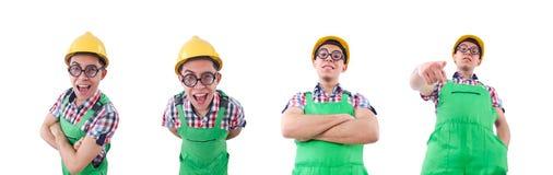 Εργάτης οικοδομών που απομονώνεται αστείος στο λευκό στοκ φωτογραφίες