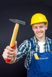 Εργάτης οικοδομών με ένα σφυρί Στοκ Φωτογραφίες