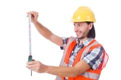 Εργάτης οικοδομών με την ταινία-γραμμή που απομονώνεται επάνω Στοκ εικόνα με δικαίωμα ελεύθερης χρήσης