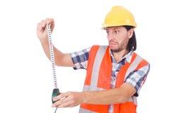 Εργάτης οικοδομών με την ταινία-γραμμή που απομονώνεται επάνω Στοκ φωτογραφίες με δικαίωμα ελεύθερης χρήσης