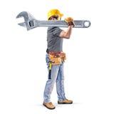 Εργάτης οικοδομών με τη ζώνη και το γαλλικό κλειδί εργαλείων Στοκ εικόνα με δικαίωμα ελεύθερης χρήσης