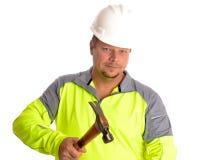Εργάτης οικοδομών με το σφυρί Στοκ εικόνα με δικαίωμα ελεύθερης χρήσης