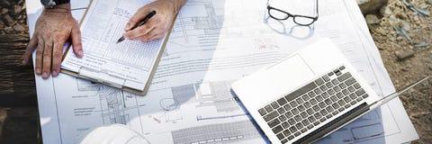 Εργάτης οικοδομών που προγραμματίζει την έννοια υπεύθυνων για την ανάπτυξη Constractor Στοκ φωτογραφίες με δικαίωμα ελεύθερης χρήσης