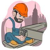 Εργάτης οικοδομών ύφους κινούμενων σχεδίων ελεύθερη απεικόνιση δικαιώματος