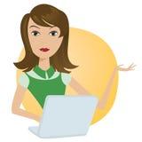 Εργαζόμενη γυναίκα με το φορητό υπολογιστή γραφείων lap-top διανυσματική απεικόνιση