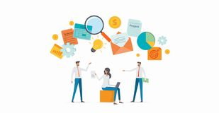Εργαζόμενη συνεδρίαση των επιχειρησιακών ομάδων ανθρώπων ομάδας για το 'brainstorming' απεικόνιση αποθεμάτων
