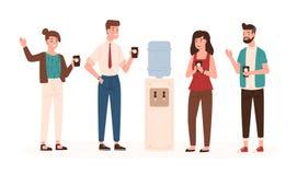Εργαζόμενοι ή συνάδελφοι γραφείων που στέκονται κοντά στο δοχείο ψύξης ή το διανομέα νερού, την κατανάλωση και να κουβεντιάσει Χα διανυσματική απεικόνιση