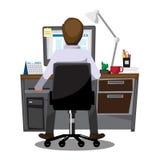 Εργαζόμενοι γραφείων επιχειρηματιών που κάθονται στους υπολογιστές, διανυσματικό illu ελεύθερη απεικόνιση δικαιώματος