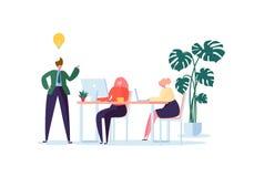 Εργαζόμενοι γραφείων που εργάζονται με τους υπολογιστές Επίπεδοι χαρακτήρες επιχειρηματιών με το lap-top Έννοια οργάνωσης εργασία απεικόνιση αποθεμάτων