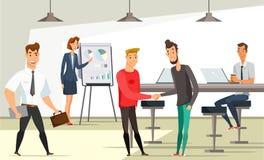 Εργαζόμενοι γραφείων στη διανυσματική απεικόνιση εργασιακών χώρων διανυσματική απεικόνιση