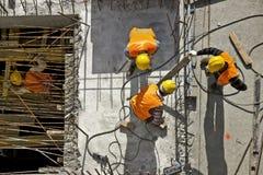 Εργαζόμενοι εργοτάξιων οικοδομής - κεραία Στοκ Φωτογραφία