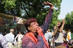 Εργαζόμενοι κομμάτων Bjp που γιορτάζουν κατά τη διάρκεια της εκλογής στην Ινδία Στοκ φωτογραφία με δικαίωμα ελεύθερης χρήσης