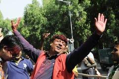 Εργαζόμενοι κομμάτων Bjp που γιορτάζουν κατά τη διάρκεια της εκλογής στην Ινδία Στοκ Φωτογραφία