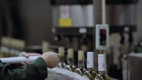 Εργαζόμενοι οινοποιιών που συνδέουν τα μπουκάλια με την εθιμοτυπία φιλμ μικρού μήκους