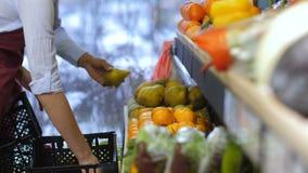 Εργαζόμενοι παντοπωλείων που τακτοποιούν τα φρούτα στα ράφια καταστημάτων απόθεμα βίντεο