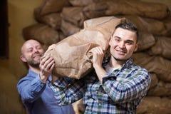 Εργαζόμενοι που φέρνουν τις τσάντες του τσιμέντου Στοκ Φωτογραφίες