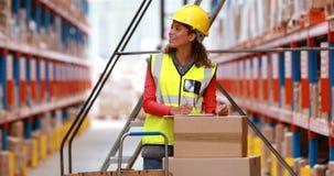 Εργαζόμενος αποθηκών εμπορευμάτων θηλυκών που ελέγχει το απόθεμα για τη ναυτιλία απόθεμα βίντεο