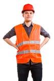 Εργαζόμενος ατόμων στο σκληρό καπέλο φανέλλων ασφάλειας. Ασφάλεια. Στοκ Εικόνες