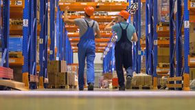 Εργαζόμενος βιομηχανίας αποθηκών εμπορευμάτων σε μια μεγάλη στέλνοντας αποθήκη εμπορευμάτων φιλμ μικρού μήκους