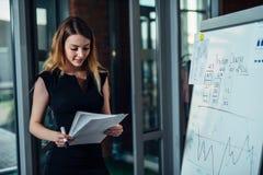 Εργαζόμενος γραφείων θηλυκών που εργάζεται στην παρουσίασή της που στέκεται κοντά στο λευκό πίνακα που διαβάζει την έκθεση που τυ στοκ εικόνα με δικαίωμα ελεύθερης χρήσης