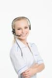 Εργαζόμενος εξυπηρέτησης πελατών γυναικών, χειριστής τηλεφωνικών κέντρων στοκ φωτογραφίες