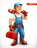 εργαζόμενος Επισκευαστής, εύθυμος χαρακτήρας τρισδιάστατο διάνυσμα ε&iot διανυσματική απεικόνιση