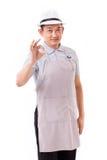Εργαζόμενος, εργοδότης με την εντάξει χειρονομία χεριών Στοκ φωτογραφία με δικαίωμα ελεύθερης χρήσης