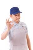 Εργαζόμενος, εργοδότης με την εντάξει χειρονομία χεριών Στοκ Εικόνα
