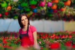 Εργαζόμενος θερμοκηπίων επιχειρηματιών θηλυκών μεταξύ των ανθίζοντας λουλουδιών Στοκ φωτογραφίες με δικαίωμα ελεύθερης χρήσης