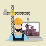 Εργαζόμενος κάτω από την κατασκευή με το lap-top διανυσματική απεικόνιση