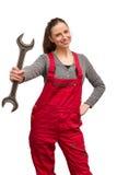 Εργαζόμενος κοριτσιών με το γαλλικό κλειδί Στοκ φωτογραφίες με δικαίωμα ελεύθερης χρήσης