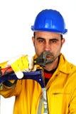Εργαζόμενος με ένα γαλλικό κλειδί Στοκ Εικόνες