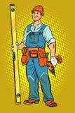Εργαζόμενος με ένα τρυπάνι, εγχώρια επισκευή διανυσματική απεικόνιση