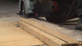 Εργαζόμενος με το ξύλο περικοπών πριονιών απόθεμα βίντεο