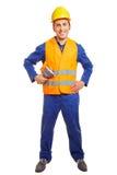 Εργαζόμενος με hardhat και ασφάλειας τη φανέλλα Στοκ Φωτογραφίες
