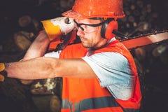 Εργαζόμενος ξυλείας εργοστασίων ξυλείας Στοκ εικόνες με δικαίωμα ελεύθερης χρήσης