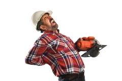 Εργαζόμενος που δοκιμάζει τον πόνο στην πλάτη Στοκ φωτογραφία με δικαίωμα ελεύθερης χρήσης