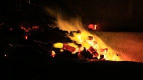 Εργαζόμενος που εργάζεται στο κάψιμο πυρκαγιάς στον άνθρακα απόθεμα βίντεο