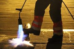 Εργαζόμενος στεγών Στοκ εικόνα με δικαίωμα ελεύθερης χρήσης