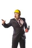 Εργαζόμενος στο κίτρινο κράνος Στοκ Φωτογραφίες