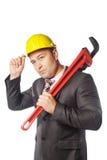 Εργαζόμενος στο κίτρινο κράνος στοκ φωτογραφία με δικαίωμα ελεύθερης χρήσης