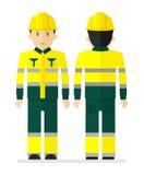 Εργαζόμενος στο κίτρινο προστατευτικό κοστούμι εργασίας με την απεικόνιση της ταινίας Στοκ Εικόνες