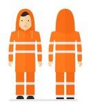 Εργαζόμενος στο προστατευτικό πορτοκαλί αδιάβροχο με την αντανακλαστική ταινία Στοκ Φωτογραφίες