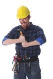 εργαζόμενος σφυριών κατασκευής Στοκ εικόνα με δικαίωμα ελεύθερης χρήσης