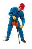 εργαζόμενος σφυριών τρυπανιών Στοκ Εικόνα