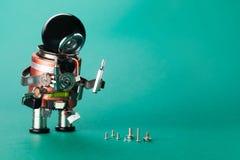 Εργαζόμενος τεχνικών και διαφορετικές βίδες μεγέθους Ρομπότ Handyman με τον οδηγό επισκευής Χαρακτήρας παιχνιδιών διασκέδασης, μα Στοκ Εικόνες